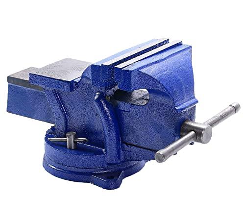 uyoyous Schraubstock 150mm Spannweite für Werkbank 360° drehbar Gusseisen Rostschutz Amboss Tischschraubstock mit Fixierbarer Sockel für Holzbearbeitung, Metallbearbeitung