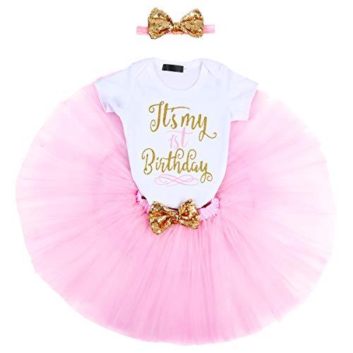 FYMNSI Baby Mädchen 1. Geburtstag Party Outfit Baumwolle Kurzarm Body Strampler Prinzessin Tütü Tüll Rock Pailletten Schleife Stirnband 3tlg Bekleidungsset Fotoshooting Kostüme Rosa 1 Jahr