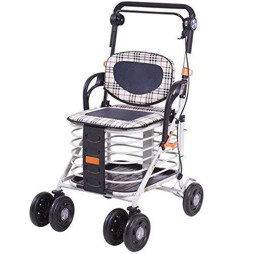 YHLZ Altmodische Grocery Shopping kann den Wagen nehmen, ältere Menschen, Vier-Rad-Fahrrad, Aluminiumlegierung Folding Einkaufswagen Aluminium-Legierung Folding Einkaufswagen (Color : Steel)