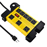Heavy Duty Power Strip Surge Protector for Appliances, 8 Outlet Workshop Power Strip with 1200 Joules Surge, Metal Power Strip with 6FT Extension Cord and Wide Spaced.