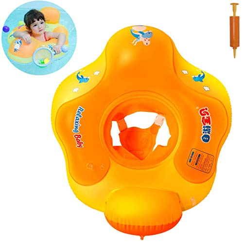 Myir JUN Flotador bebé con Asiento y Respaldo, Anillo de Natación para bebés de Piscina Flotador Inflable para Niños Flotador de Natación Nadar Anillo (Naranja, S)