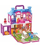 Negocio Traders Battery Operated 40 Piece Doll House with Full Furniture and Lights