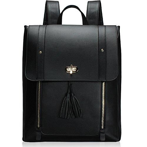 Estarer Womens Backpack Purse PU Leather Rucksack Fit 14-inch Laptop School Bag Daypack(Black)