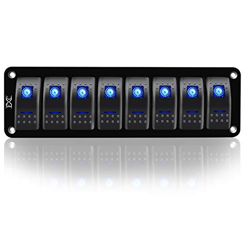 FXC Rocker Switch Aluminum Panel 8 Gang Toggle Switches Dash 5 Pin ON/Off 2 LED Backlit for Boat Car Marine (8 Gang Blue)