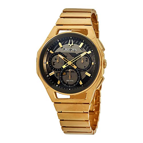 Men's  Curv Chronograph Yellow Gold-Tone Stainless Steel Watch - Bulova 97A144