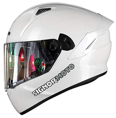 Casco de Moto Integral, Personalidad Scooter Helmet para Mujer Hombre Adultos con Doble Visera, Forro Extraíble y Lavable - Blanco Brillante M L XL XXL,XXL-Mirrored Visor