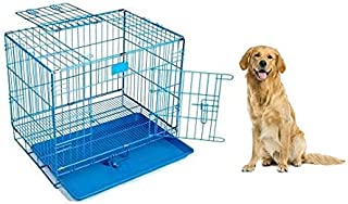 RvPaws Dog Cage Blue Poweder Coated 36 Inch Iron Cage with Removable Tray for Dog(Large) ( Size 36 x 22 x 26 inch )