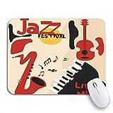 MIGAGA Tapis de Souris Confortable,Jazz Music Festival Instruments Saxophone Guitare et Piano Notes,pour Ordinateur Portable,antidérapant de Bureau,Caoutchouc Base,9.5'x7.9'