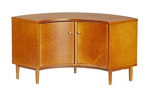 Melody Jane Dollhouse Mid Century Modern Walnut Corner Cabinet JBM Miniature Furniture