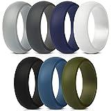 ThunderFit Silicone Wedding Ring for Men - 8.7mm Wide - 2.5mm Thick (Dark Grey, Light Grey, White, Black, Dark Teal, Dark Blue, Dark Olive Green - Size 8.5 - 9 (18.9mm))