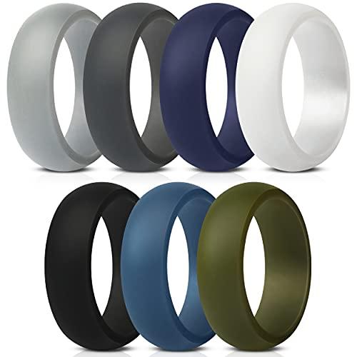 ThunderFit Silicone Wedding Ring for Men - 8.7mm Wide - 2.5mm Thick (Dark Grey, Light Grey, White, Black, Dark Teal, Dark Blue, Dark Olive Green - Size 9.5 - 10 (19.8mm))