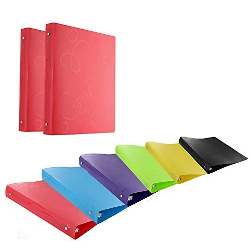 Emraw 1 Inch Swirl Poly 3-Ring Binder with Pocket Storage Hanging File Folders Presentation View Durable Binders for School, Home or Office Clear Folders with Pockets (Pack of 4)