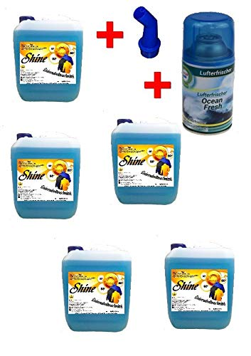 NM 5X 5 Ltr. Shine Flüssigwaschmittel PE 1,20 € / Ltr. + 250ml Raumduft Ocean Waschmittel Waschgel inkl. Ausgießer Liquid Gel