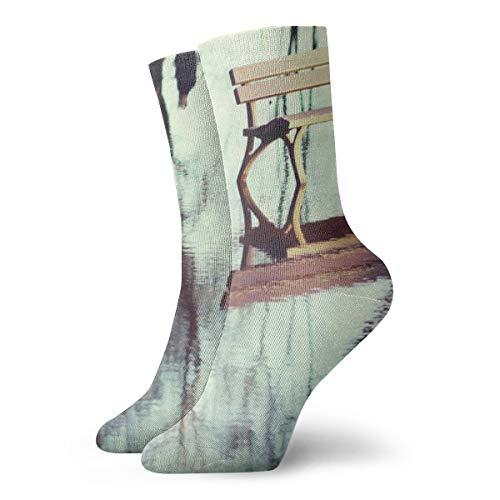 BJAMAJ Unisex Socken Bench On The Water interessante Polyester Crew Socken Erwachsene Socken Baumwolle