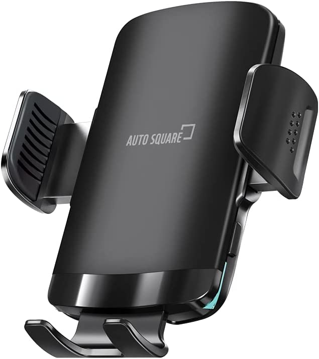 Auto Square 15W Fast Wireless Car Charger Mount, Hybrid Auto Clamping with Double Gears, Windshield Air Vent Phone Holder Qi Wireless Charging for iPhone 12 Samsung S21 S10
