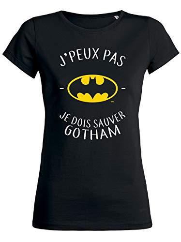 T-Shirt Batman Femme J'Peux Pas Humour - Noir - XXS, Noir