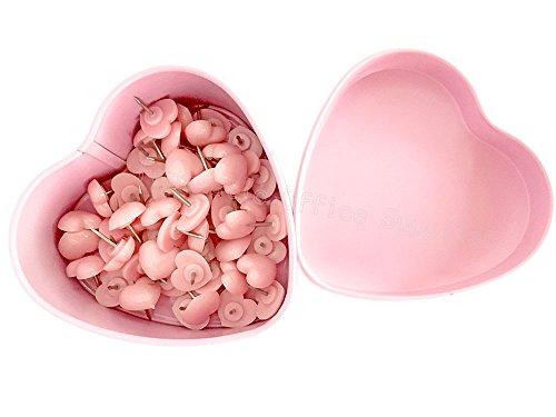 52 PCS Heart Push Pins, Pink Thumb Tacks Cute Push Pins, Bulletin Boards Wall Tacks, Plastic Heart Shaped Head Decorative for Wall Maps