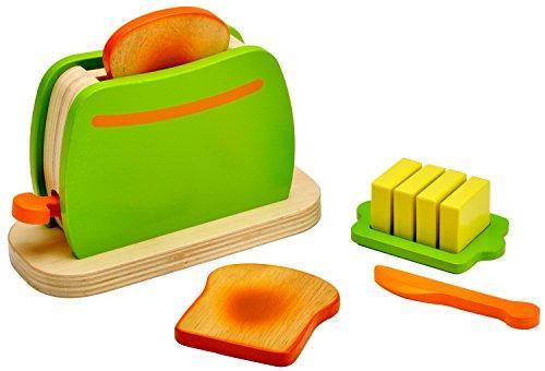 Idena 4100073 Kleine Küchenmeister Toaster aus Holz mit Zubehör, für Spielküche und Kaufmannsladen, ab 3 Jahre, ca. 16,5 x 7 x 11 cm