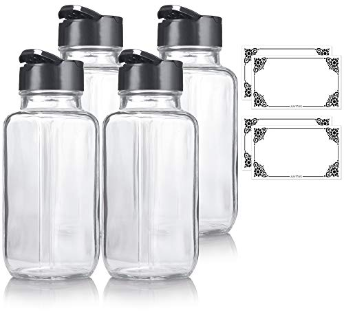 8 oz / 240 ml Clear Glass Square Spice Jar with Black Sifter (4 Pack) + Labels - Two Sided Sifter Cap (Shaker Holes/Pour Open) and Freshness Seal for a Professional Look