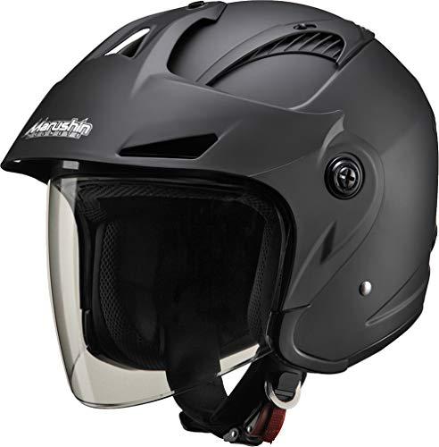 マルシン(MARUSHIN) バイクヘルメット ジェット バイザー付き M-385 マットブラック フリーサイズ (57-60cm) 3853
