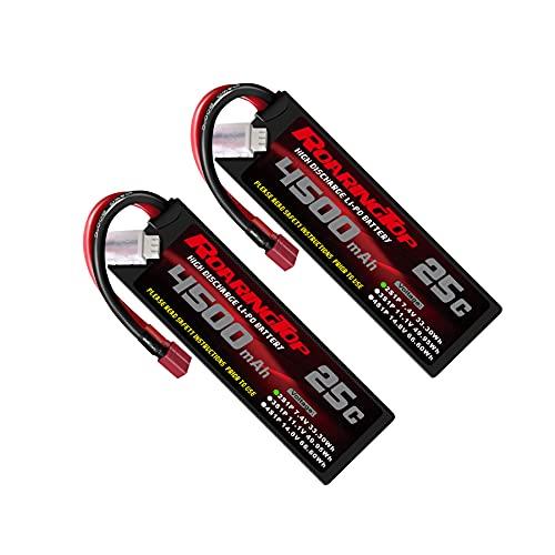 RoaringTop 2S LiPo Batteria 4500mAh 7.4V 25C Hardcase RC Lipo Batteria con connettore Deans per RC Auto RC Barca RC Camion Heli Aereo (2 pezzi)