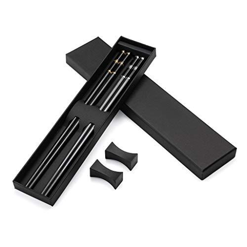2 pares de palillos japoneses de aleación y oro negro + 2 palillos chopsticks palillos de acero inoxidable con soporte, set de regalo de palillos chinos palillos asiáticos cubiertos con caja de regalo