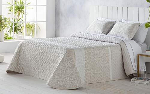 SANDECO - Colcha Bouti Jacquard Kase, Contiene Fundas de Cojín 60x40, Colcha Verano y Entretiempo, Diseño Elegante (Beig, Cama 150)