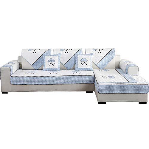 YUTJK Composable Antideslizante Resistente Anti-Suciedad Sofá Cubierta,Funda Protector De Los Muebles,Conjuntos de sofás de algodón con diseño de Nubes,Puede ser Alfombra,Azul