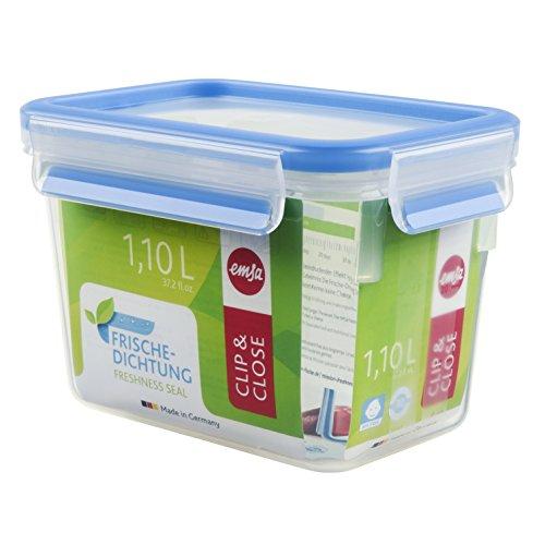 Emsa 508541 Rechteckige Frischhaltedose mit Deckel, 1.1 Liter, Transparent/Blau, Clip & Close