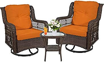 Go Beyond 3 Piece Patio Bistro Swivel Rocking Chairs, Wicker Rattan Furniture Set Outdoor Indoor Patio Seating, 360-Degree Rocker Cushioned Chair with Glass Coffee Table (Orange)
