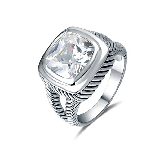 Quiges Classic and Fashion Ring made of 925 Sterling Silver with Crystal Zirconia Stones...