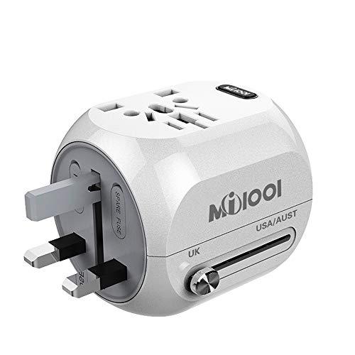 Adaptador Enchufe, Milool Cargador USB + Tipo-C Puertos, Adaptador de Viaje Multiple...