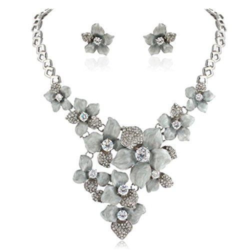 EVER FAITH Women's Austrian Crystal Grey Enamel Camellia Flower Necklace Earrings Set Silver-Tone