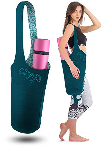 Zenifit Yoga Mat Bag - Long Tote with Pockets - Holds More Yoga Accessories. Cute Yoga Mat Holder with Bonus Yoga Mat Strap Elastics. Stylish and Practical Yoga Mat Bags and Carriers (Teal 2 Tone)