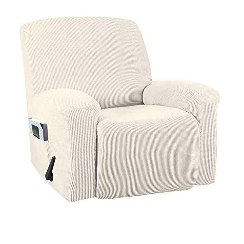 Hellay Stretch Recliner Stuhlbezug Recliner Bezug für elektrischen/manuellen Stil, Möbelbezug zum Liegen mit Seitentasche, weich Karierter Jacquardstoff-Beige