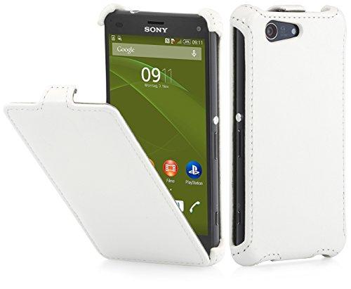 StilGut Slim Hülle, Hülle kompatibel mit Sony Xperia Z3 Compact, weiß Vintage