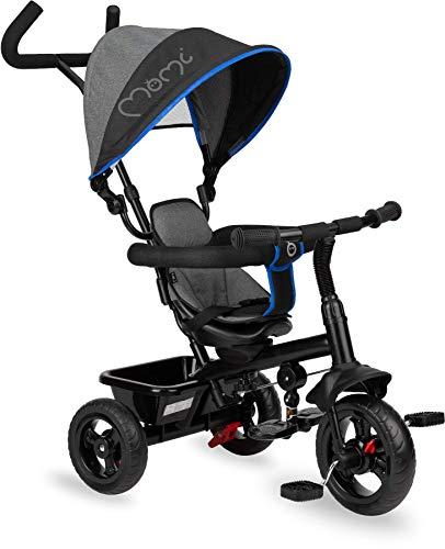 MOMI IRIS 5-in-1 triciclo per bambini con funzione di passeggino, per bambini da 9 mesi a 5 anni, telaio stabile, sedile a 360° con cintura di sicurezza a 5 punti, cappottina parasole, ruote in PU