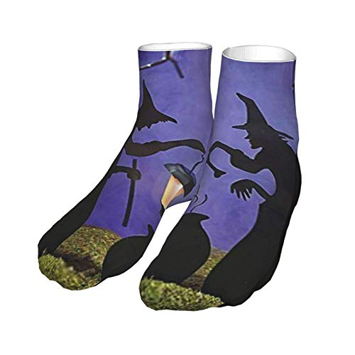 Wandersocken Sportsocken Witch Cauldron Pot Solar beleuchtete Laterne Halloween Silhouette Funktionssocken Strümpfe 30CM