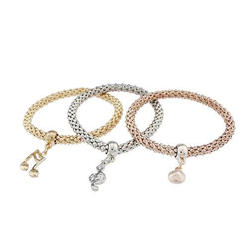 xinMarJ Alloy Tri-Color Set Stretch-Maiskette Diamanten Musiknoten Anhänger Damen Armband