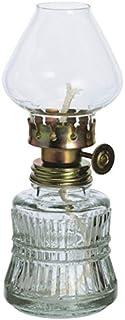 Oberstdorfer Glashütte Lampara Estilo Antiguo de Cristal Transparente lámpara de petróleo con Laton Adornado Soporte para Mecha soplado de Colores Altura Aprox. 14,5 cm para echa Ronde de 3 mm