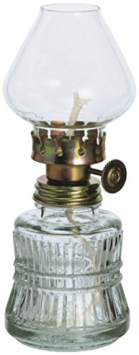 Oberstdorfer Glashütte Oellampe antiker Stil aus klarem Glas Petroleumlampe mit verziertem Gold farbigen Dochthalter mundgeblasen Höhe ca. 14,5 cm für Runddochte 3 mm