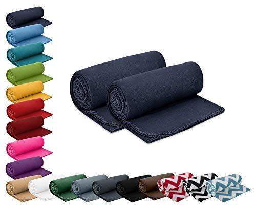 wometo 2er Set Polar- Fleecedecke 130x160 cm ca. 400g wertiges Gewicht mit Anti-Pilling Kettelrand Farbe dunkelblau in vielen bunten Farben
