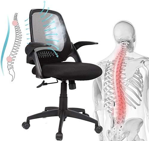 Komene Bürostuhl mit Kopfstütze Gaming Stuhl mittle Rückenlehnen Armlehnen Höhenverstellung verdicht Schaumskisse 136 kg Schwarz Schwarz
