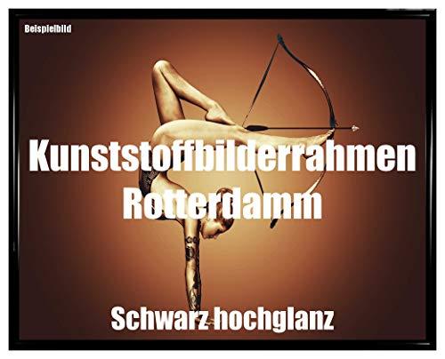Homedecoration Bilderrahmen Rotterdam Schwarz Hochglanz 40 x 120 cm Kunststoff mit Kunstglas bruchfest glasklar UV beständig