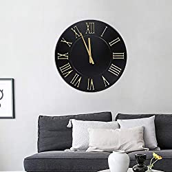 Hawoo 24 Large Decorative Wall Clock, Round Oversized Centurian Roman Numeral Style Modern Home Wall Clocks for Living Room Decor, Metal Clock (Black)