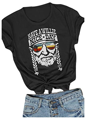 Women I Willie Love The USA & Have A Willie Nice Day Casual Short Sleeve T-Shirts Tops (Large) Black