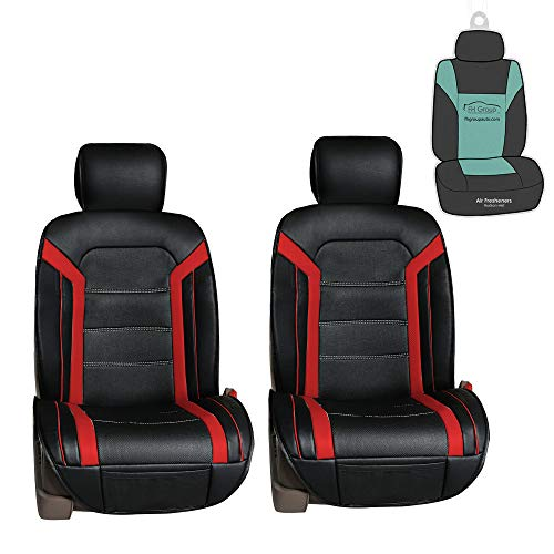 FH Group PU208102 Futuristic Leather Seat Cushions (Red) Front Set with Gift – Universal Fit for Cars Trucks & SUVs