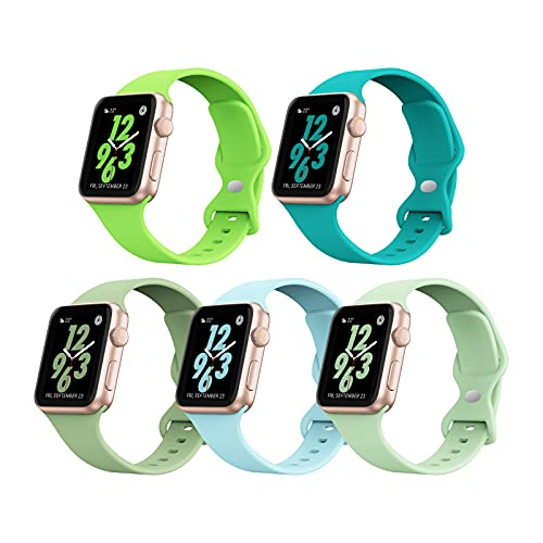 5 PACK STG Sport Watch Band Compatible with Apple Watch Band 38mm 40mm 42mm 44mm Soft Silicone Replacement Sport Strap Compatible for iWatch SE Series 6/5/4/3/2/1 (42/44mm, 5 PACK F)