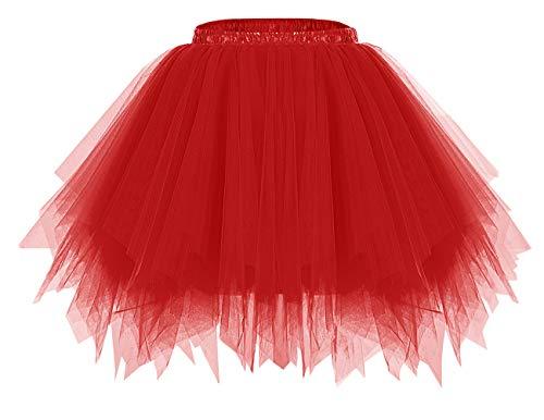 Bridesmay Mujeres Faldas Enaguas Cortas Tul Plisada Fiesta Tutu Ballet Red M