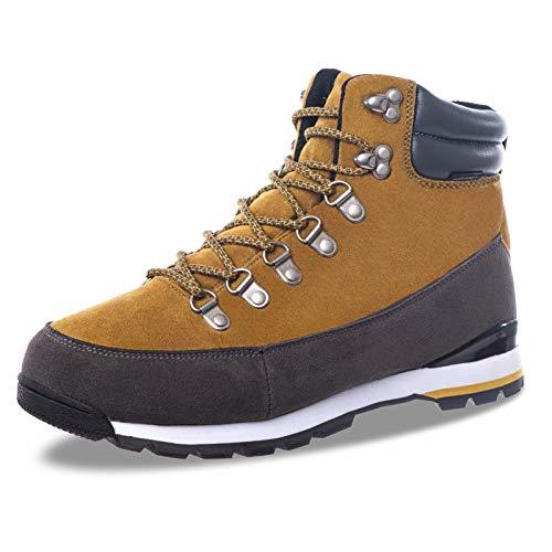 Herren Winterschuhe Hiking Boots Waterproof Schnürstiefel Trekking- & Wanderschuhe Winterschuhe Winterstiefel Stiefeletten Wasserdicht Sports Outdoor High Top Sneaker,EU46,Gelb Braun Amber